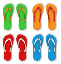 Realistic flip flop set vector image vector image