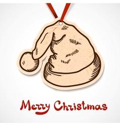Santas hat paper label on ribbon vector