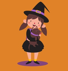 School Witch Holding her Dog vector image