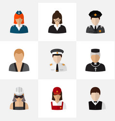 Set of 9 editable profession flat icons includes vector