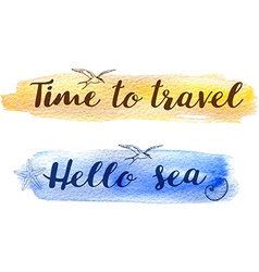 Set of abstract watercolor travel backgrounds vector
