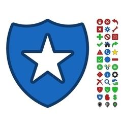 Shield Star Symbol With Toolbar Icon Set vector image