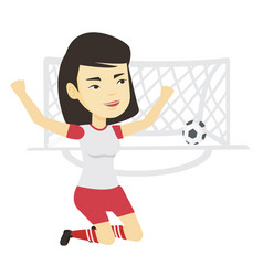 Soccer player celebrating scoring goal vector