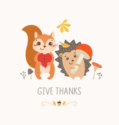thanksgiving cute forest animals vector image