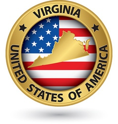 Virginia state gold label with state map vector