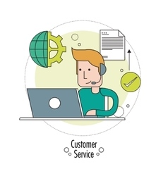 Operator man with headphone icon customer sevice vector