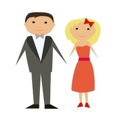 Happy couple in flat style man and woman vector