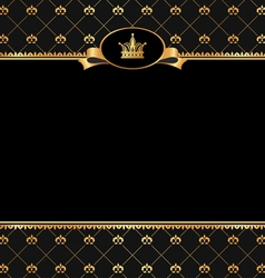 Vintage black background with golden frame vector image