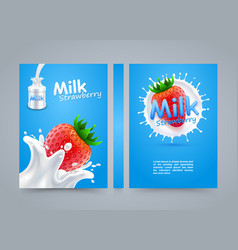 label milk strawberry cover banner splashing vector image