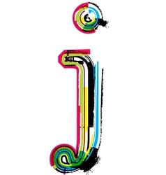 Grunge colorful font Letter j vector image