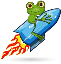 Frog on a rocket vector