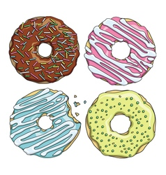 Set of cartoon colorful tasty donuts on the white vector