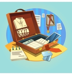 Business retro briefcase vector