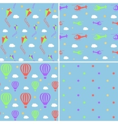 Seamless pattern set with helicopters hot vector