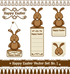 Happy easter set no 1 vector