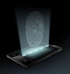Icon fingerprint on the screen vector