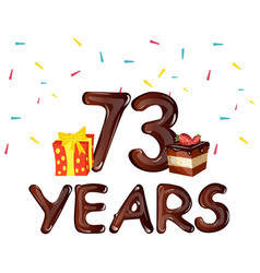 73 years birthday celebration for greeting cards vector image vector image