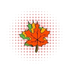 Maple leaves icon comics style vector