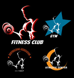 body building label set vector image vector image