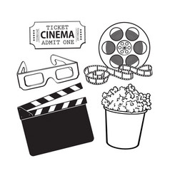 Cinema objects popcorn bucket film roll ticket vector