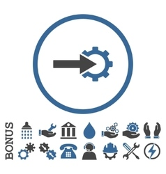 Cog integration flat rounded icon with vector