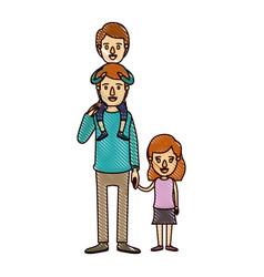 Color crayon stripe cartoon dad with boy on his vector