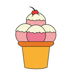 Color image cartoon ice cream with three balls and vector