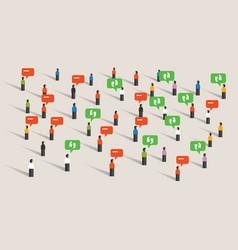 crowd people talking bubble speech social media vector image