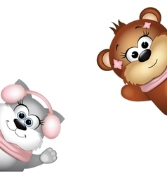 Cute bear and cat on a white background vector image vector image