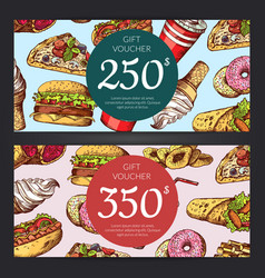 Discount or gift voucher with fast food vector