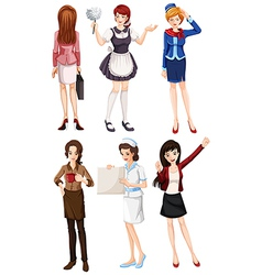 Female with different works vector