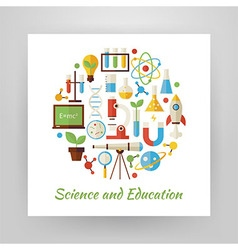 Flat style circle set of science and education vector