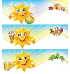 Fun sun with ice cream and cool drinks horizontal vector image