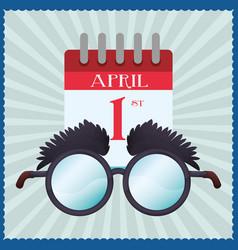 Funny glasses calendar april fools vector