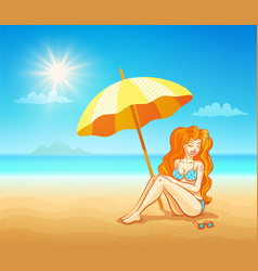 Girl on the tropical beach vector