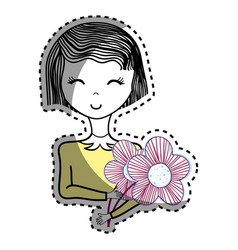 Happy woman with short hair and flowers vector
