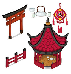 Oriental architecture elements outdoors vector