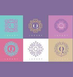 Q letter pastel floral monogram lines logo design vector