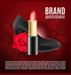 red lipstick ads template vector image vector image