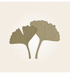 Retro hand drawn gingko leaves isolated on brown vector