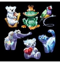 Set of animals made of precious stones vector image vector image