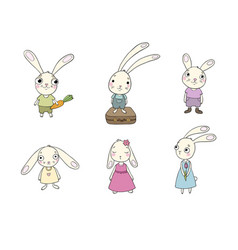 set of cute cartoon bunny vector image vector image