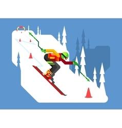 Slalom downhill skiing vector