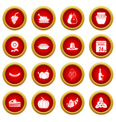 Thanksgiving icon red circle set vector