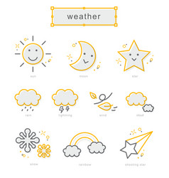 Thin line icons set weather vector