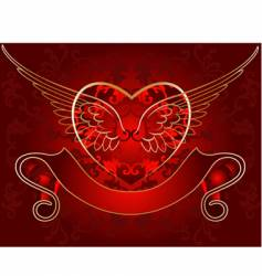 wing heart gold on red vector image vector image
