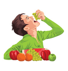 Young boy eating fruit vector