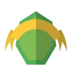 Green shield and yellow ribbon shadow vector