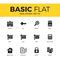 Basic set of real estate icons vector