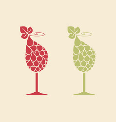 wine glass with grape vector image